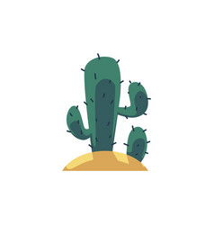 mexican cactus plant icon flat cartoon vector image