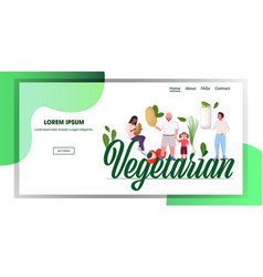 mix race people on vegetarian word holding nuts vector image
