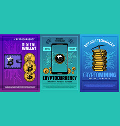 mobile phone digital wallet with bitcoin vector image