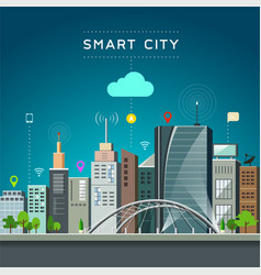 Modern building and landmark smart city vector