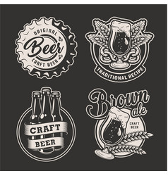 monochrome brewing badges set vector image