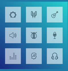 music outline icons set collection of equalizer vector image