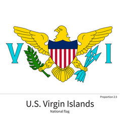 National flag of US Virgin Islands with correct vector