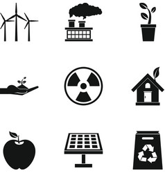 Natural environment icons set simple style vector