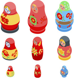 Nesting doll icons set isometric style vector