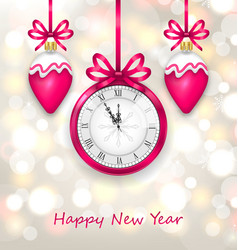 New year midnight glowing background with clock vector