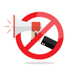 no megaphone or no speaker prohibition sign vector image
