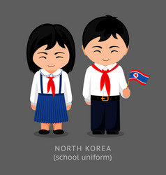 north koreans in national school uniform with a vector image
