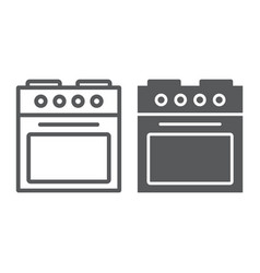 oven line and glyph icon home and appliance vector image
