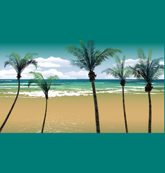 Palm trees by the beach backdrop vector