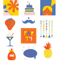 Party icons funny set vector