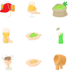 Production of beer icons set cartoon style vector image