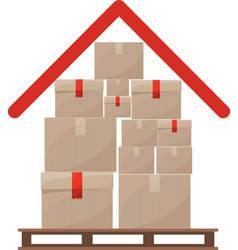 Red roof with multiple packages stacked on stowage vector