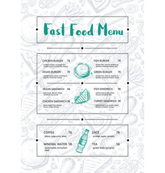 restaurant menu brochure with hand drawn graphic vector image