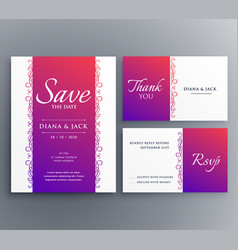 Save the date wedding card template design with vector