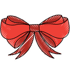 scribble christmas bow cartoon vector image
