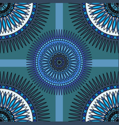 Seamless blue pattern with oriental mandalas vector