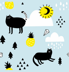 Seamless pattern with cats in the sky vector