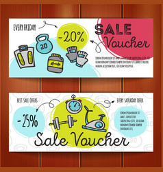 Set of discount coupons for sport vector