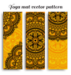 set of ethnic designs for yoga mats vector image