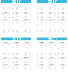 Simple calendar for next four years vector image