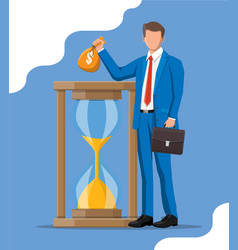 successful business man near hourglass vector image