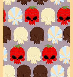 Sweet candy skulls seamless pattern head skeleton vector