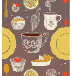 Sweet cupcakes and tea vector image