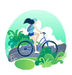 Teenage girl riding the bicycle on the bike path vector