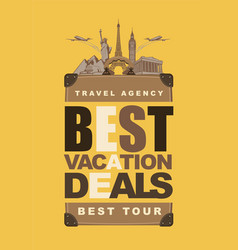 travel banner for best vacation deals vector image