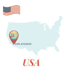 usa map with los angeles pin travel concept vector image