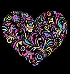 valentine heart on black background vector image