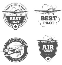 Vintage biplane and monoplane emblems set vector
