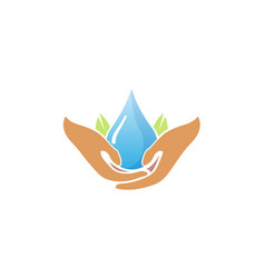 water care hands holding drop logo vector image