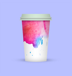 Watercolor coffee cup template vector