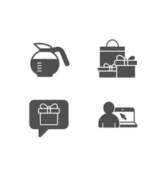 Wish list shopping and coffeepot icons online vector