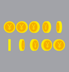 yen or yuan coin rotating animation sprite sheet vector image