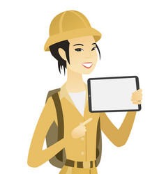 young asian traveler holding tablet computer vector image