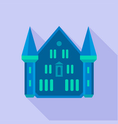 blue castle palace icon flat style vector image vector image