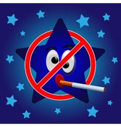 Cartoon star no smoking vector image vector image