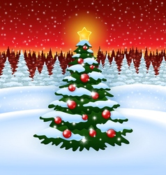 Christmas tree with decoration in the Forest vector image vector image
