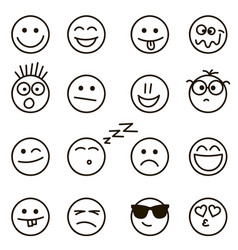 emotional hand drawn faces set vector image vector image