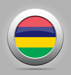 flag of mauritius shiny metal gray round button vector image vector image