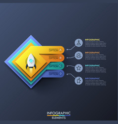 infographic design template with 4 squared layers vector image