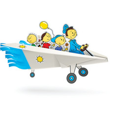 paper airplane with children vector image