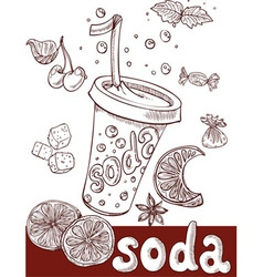 sweet soda with fruit and sweets vector image
