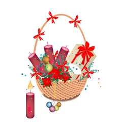 A Brown Basket of Christmas Gift and Ornament vector image vector image