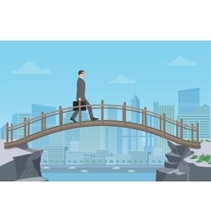 Businessman going on a bridge from mountain cliff vector image vector image