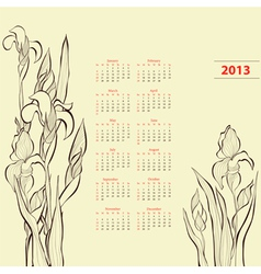 Calendar for 2013 with Iris flowers vector image vector image