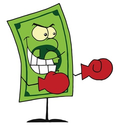 Dollar Bill Wearing Boxing Gloves vector image vector image